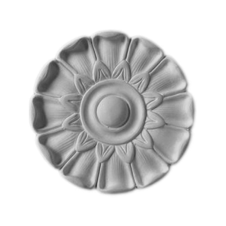 "5"" (Diam.) x 3/4"" (Relief) - Classic Floral Circle Rosette Accent - [Plaster Material] - Brockwell Incorporated"