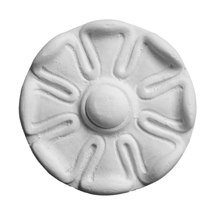 "2-1/8"" (Diam.) x 1/2"" (Relief) - Classic Floral Circle Rosette - [Plaster Material] - Brockwell Incorporated"