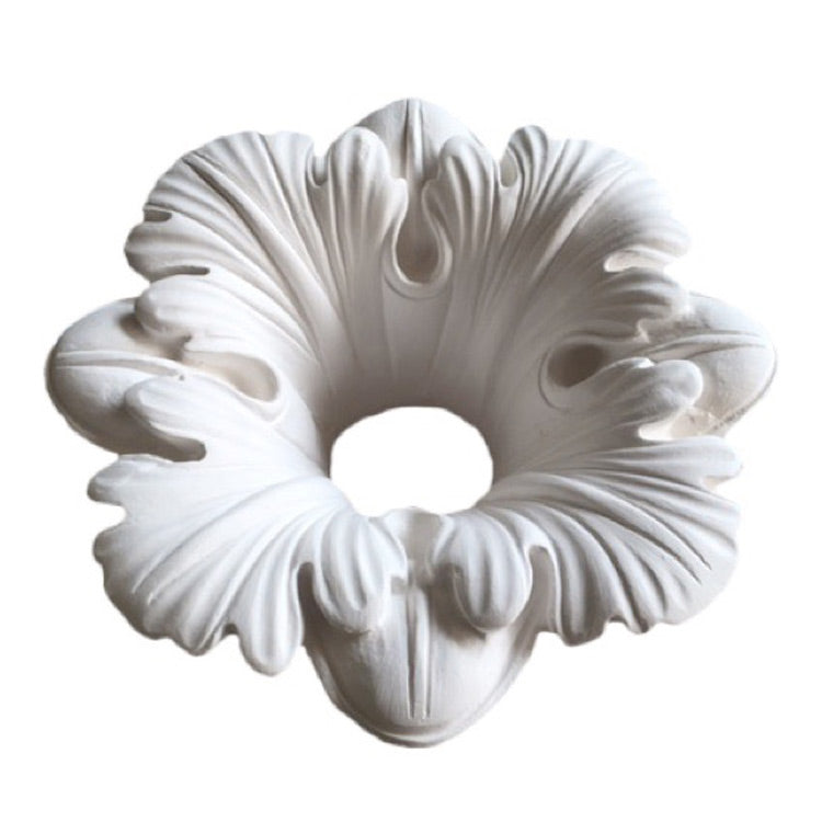 "7-3/4"" (Diam.) x 3-3/4"" (Relief) - Hole: 2"" - Floral Bulb Ring - [Plaster Material] - Brockwell Incorporated"