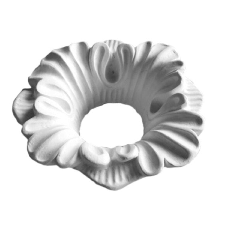 "5"" (Diam.) x 2"" (Relief) - Hole: 2"" - Floral Bulb Ring - [Plaster Material] - Brockwell Incorporated"