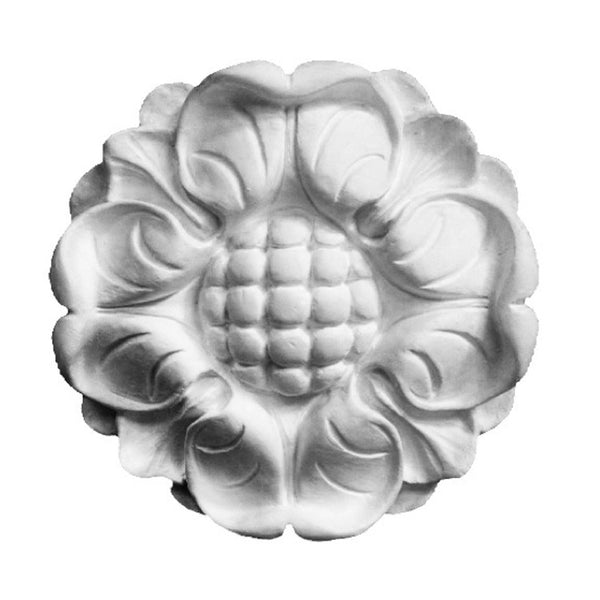 "4-3/4"" (Diam.) x 1"" (Relief) - Roman Sunflower Round Rosette - [Plaster Material] - Brockwell Incorporated"