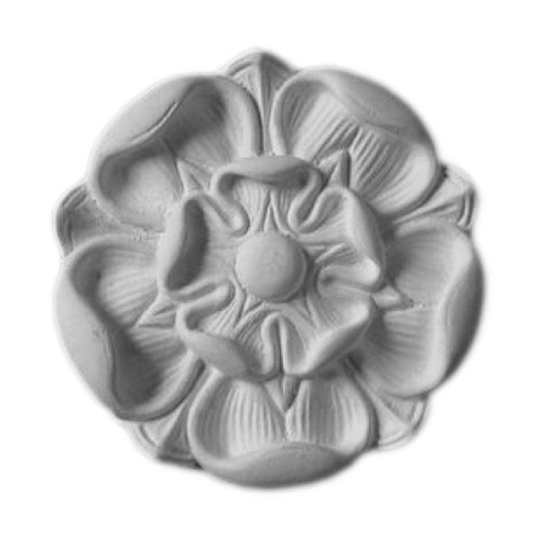 "4-7/8"" (Diam.) x 3/4"" (Relief) - Round Floral Rosette - [Plaster Material] - Brockwell Incorporated"