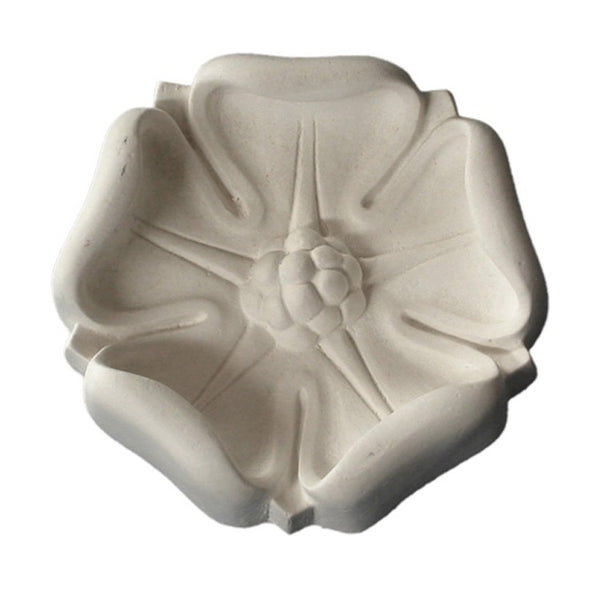 "3-3/4"" (Diam.) x 1-1/4"" (Relief) - Floral Roman Style Round Rosette - [Plaster Material] - Brockwell Incorporated"