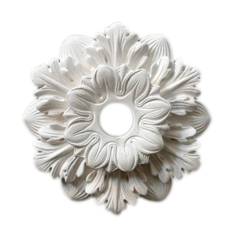 "11"" (Diam.) x 2-1/4"" (Relief) - Hole: 2"" - Floral Bulb Ring - [Plaster Material] - Brockwell Incorporated"