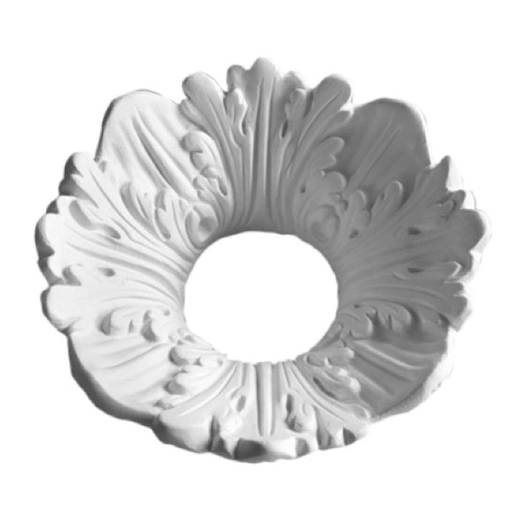 "6"" (Diam.) x 2-1/2"" (Relief) - Hole: 2-1/4"" - Acanthus Leaf Bulb Ring - [Plaster Material] - Brockwell Incorporated"