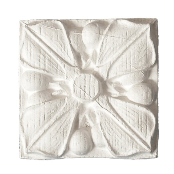 Small Square Gothic Flower Rosette - [Plaster Material] - Brockwell Incorporated