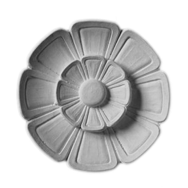 "6"" (Diam.) x 3/4"" (Relief) - Circle Classic Style Flower Rosette - [Plaster Material] - Brockwell Incorporated"