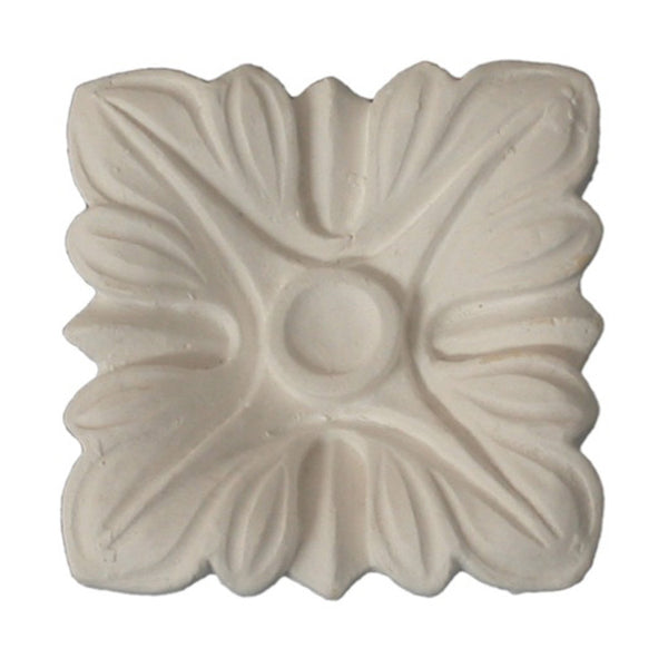 "2-1/2"" (W) x 2-1/2"" (H) x 5/8"" (Relief) - Small Square Roman Flower Rosette - [Plaster Material] - Brockwell Incorporated"