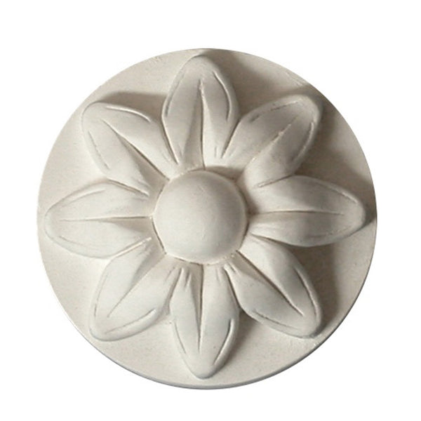"2"" (Diam.) x 7/8"" (Relief) - Classic Style Floral Circle Rosette - [Plaster Material] - Brockwell Incorporated"