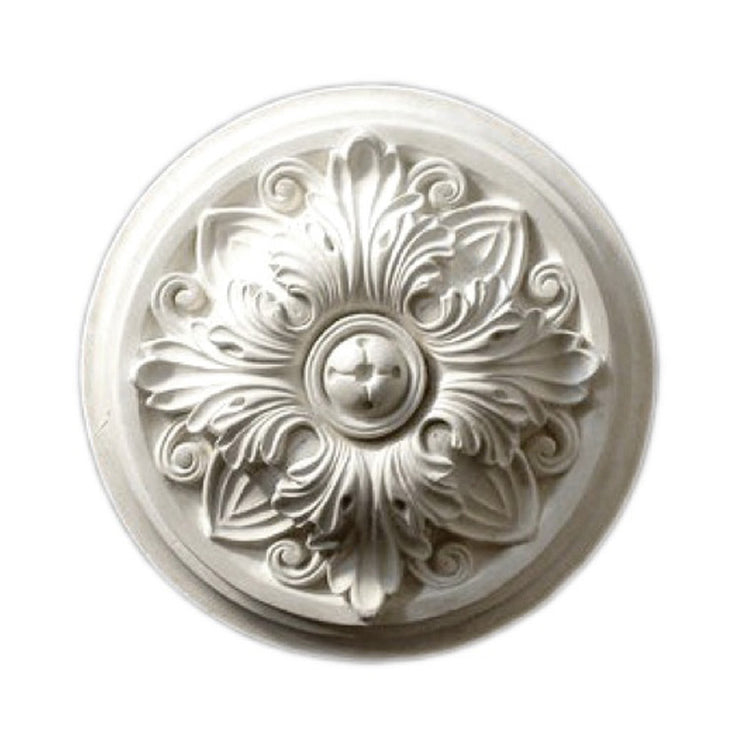 "7-1/4"" (Diam.) x 2"" (Relief) - Roman Floral Rosette Applique - [Plaster Material] - Brockwell Incorporated"