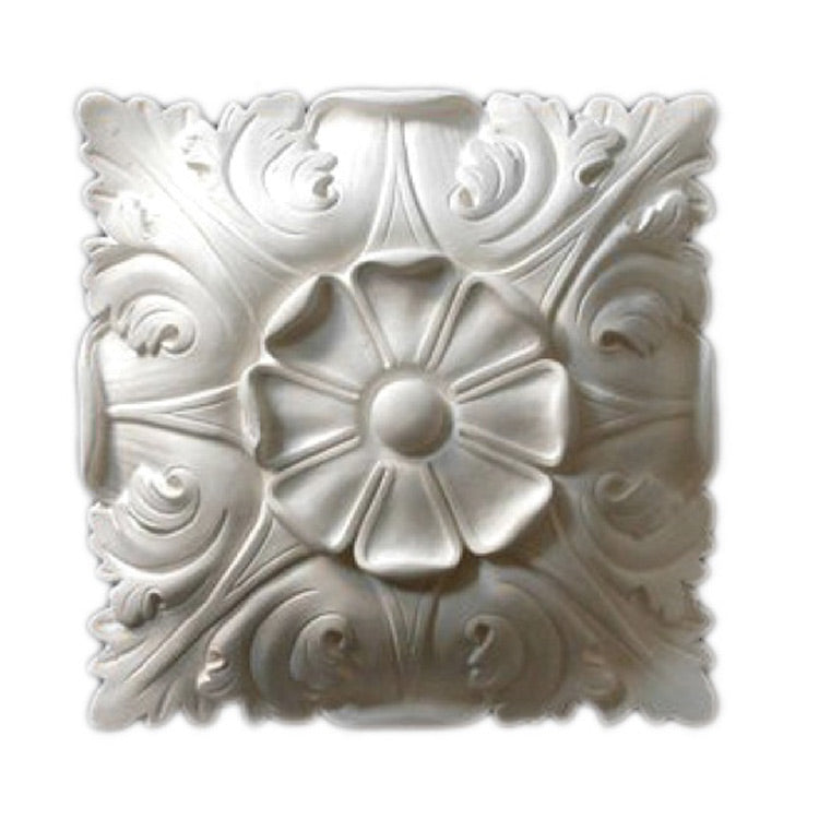 "10"" (W) x 10"" (H) x 3"" (Relief) - Italian Flower Square Rosette - [Plaster Material] - Brockwell Incorporated"