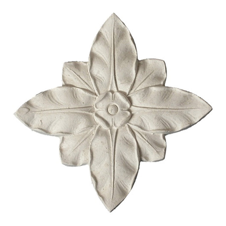"3-3/8"" (W) x 3-3/8"" (H) x 3/8"" (Relief) - Classic Square Flower Rosette - [Plaster Material] - Brockwell Incorporated"