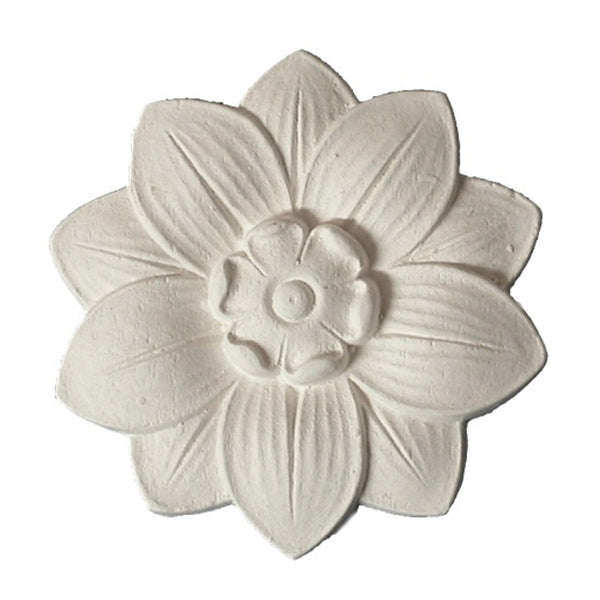 "3"" (Diam.) x 1/4"" (Relief) - Classic Style Flower Rosette - [Plaster Material] - Brockwell Incorporated"