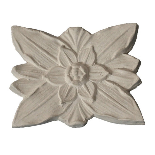 "4-1/2"" (W) x 3-1/2"" (H) x 3/8"" (Relief) - Classic Flower Square Rosette - [Plaster Material] - Brockwell Incorporated"