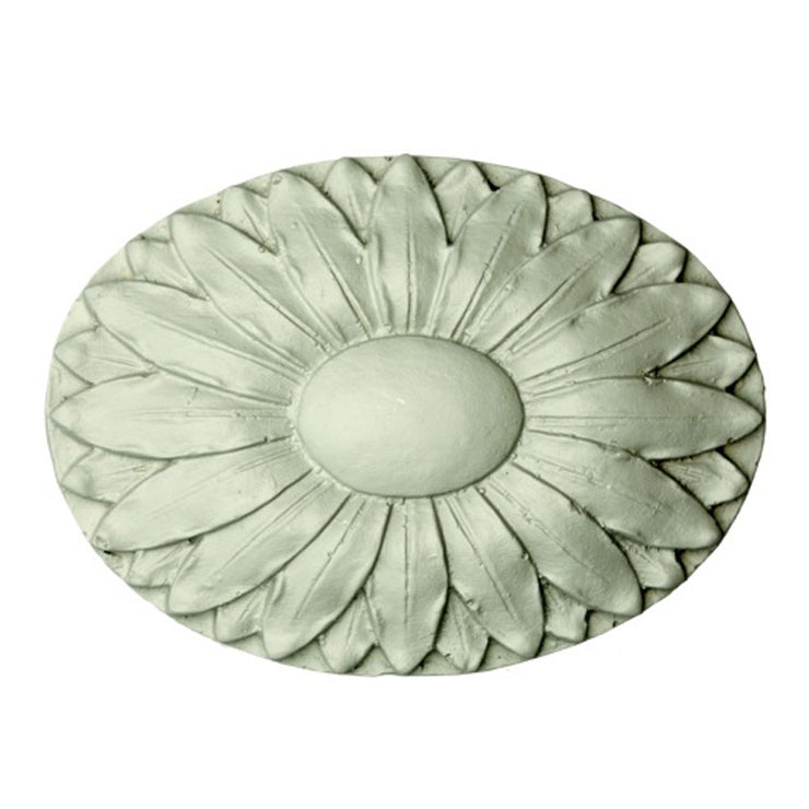 "5-1/2"" (W) x 4"" (H) x 3/4"" (Relief) - Daisy Oval Medallion - [Plaster Material] - Brockwell Incorporated"