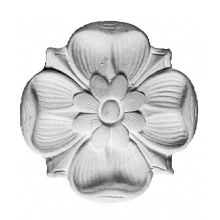 "3-7/8"" (Diam.) x 1/2"" (Relief) - Roman Style Flower Rosette Accent - [Plaster Material] - Brockwell Incorporated"