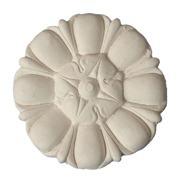 "3-5/8"" (Diam.) x 1/2"" (Relief) - Roman Floral Rosette - [Plaster Material] - Brockwell Incorporated"