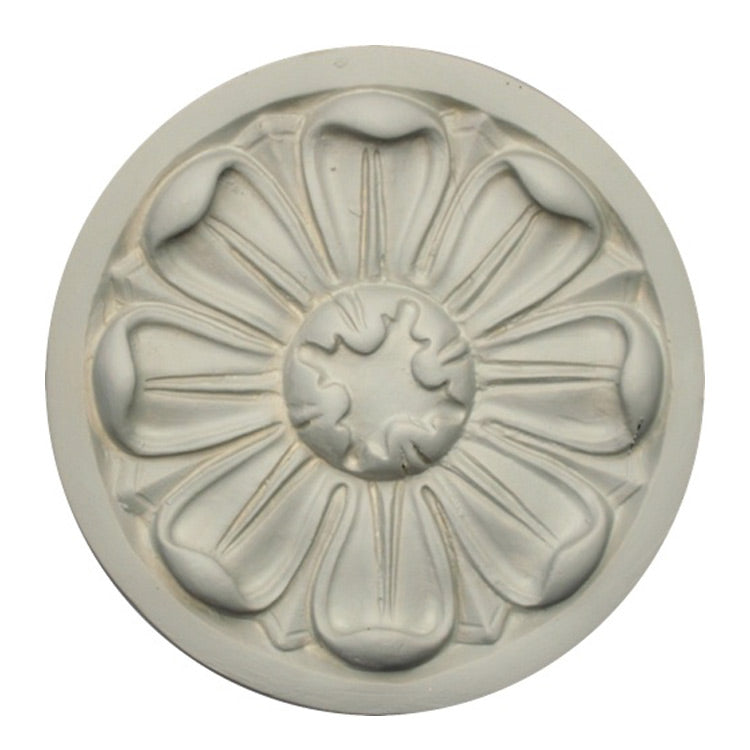 "5-1/4"" (Diam.) x 1/2"" (Relief) - Floral Circle Rosette - [Plaster Material] - Brockwell Incorporated"