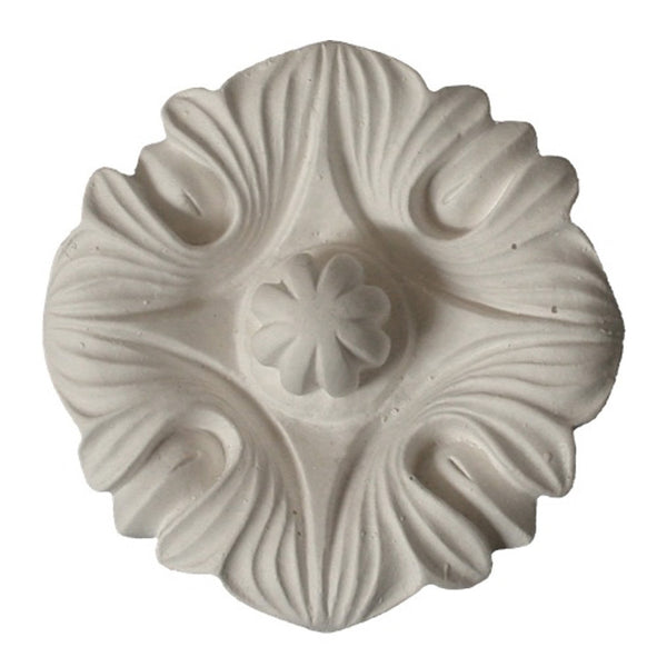 "3-3/4"" (Diam.) x 2"" (Relief) - Roman Style Floral Rosette - [Plaster Material] - Brockwell Incorporated"