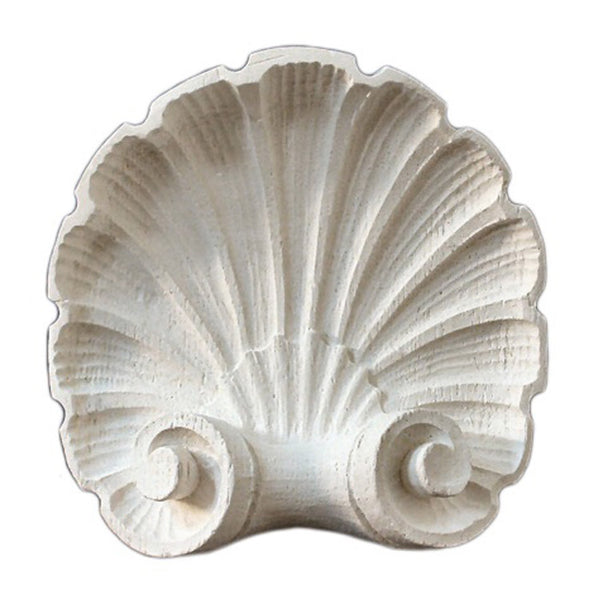"4-3/8"" (W) x 4-3/8""(H) x 1-1/2"" (Relief) - Shell Rosette - [Plaster Material] - Brockwell Incorporated"