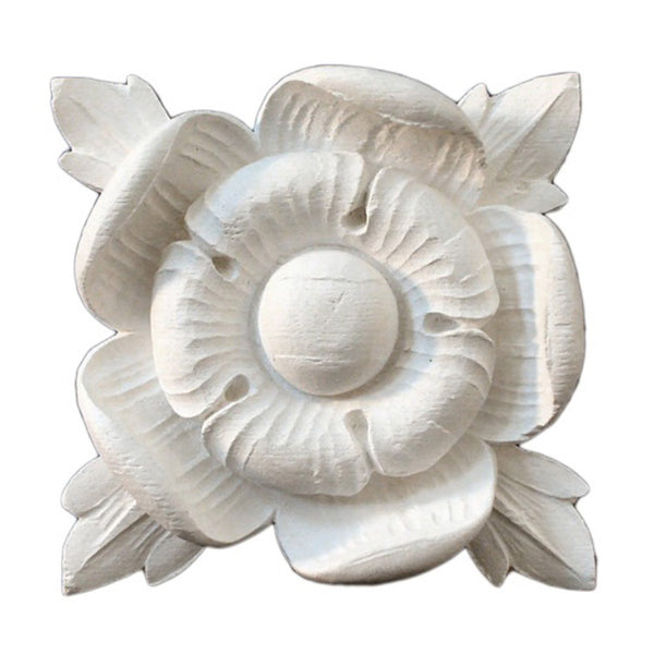 "4-3/4"" (W) x 4-3/4""(H) x 1-3/8"" (Relief) - Renaissance Flower Rosette - [Plaster Material] - Brockwell Incorporated"
