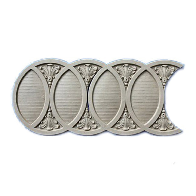 "Stain-Grade 9-1/8""(H) x 1/4""(Relief) - Roman Interlocking Rings Linear Molding Design - [Compo Material]"