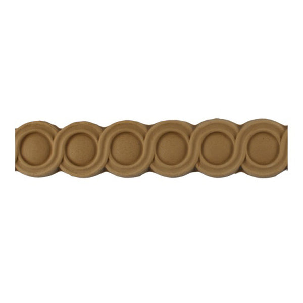 "Stain-Grade 1-1/2""(H) x 1/4""(Relief) - French Style Coin Linear Molding Design - [Compo Material]"