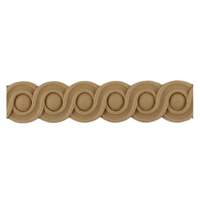 "Stain-Grade 1-1/4""(H) x 1/4""(Relief) - French Style Coin Linear Molding Design - [Compo Material]"