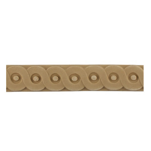 "Stain-Grade 1-1/8""(H) x 1/4""(Relief) - French Coin Linear Molding Design - [Compo Material]"