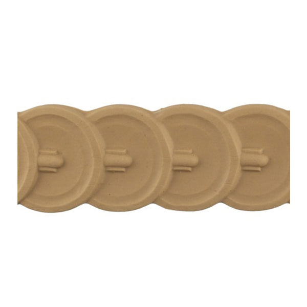 "Stain-Grade 2-1/8""(H) x 3/16""(Relief) - Classic Style Coin Linear Molding Design - [Compo Material]"