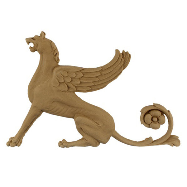 "9""(W) x 6-1/4""(H) - Griffin Applique for Wood (Facing Left) - [Compo Material] - DIY Home Accents"
