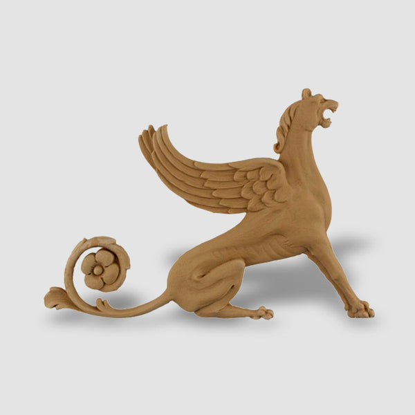 "9""(W) x 6-1/4""(H) - Griffin Applique for Wood (Facing Right) - [Compo Material]"