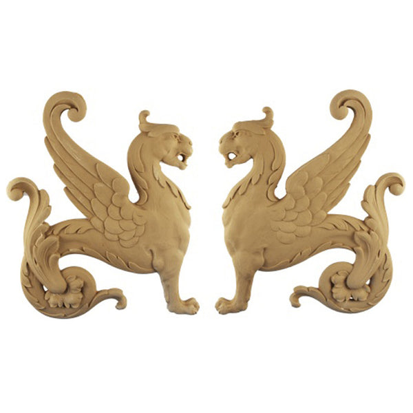 "11-3/8""(W) x 14""(H) x 5/8""(Relief) - Griffin Applique for Wood (PAIR) - [Compo Material] - DIY Home Accents"