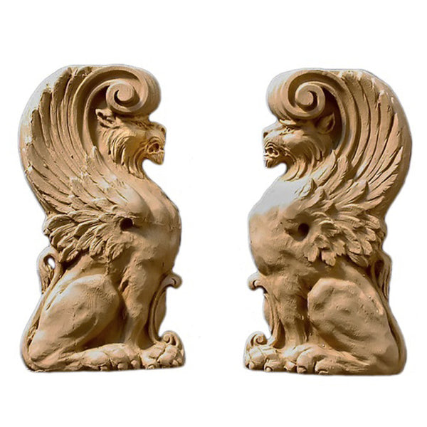 "3-1/4""(W) x 6""(H) x 5/8""(Relief) - Griffin Applique for Wood (PAIR) - [Compo Material] - DIY Home Accents"