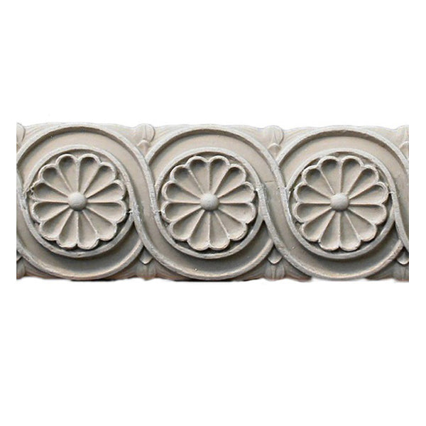 "2""(H) x 7/16""(Relief) - Empire Style Rosette Linear Molding Design - [Compo Material]-Brockwell Incorporated"