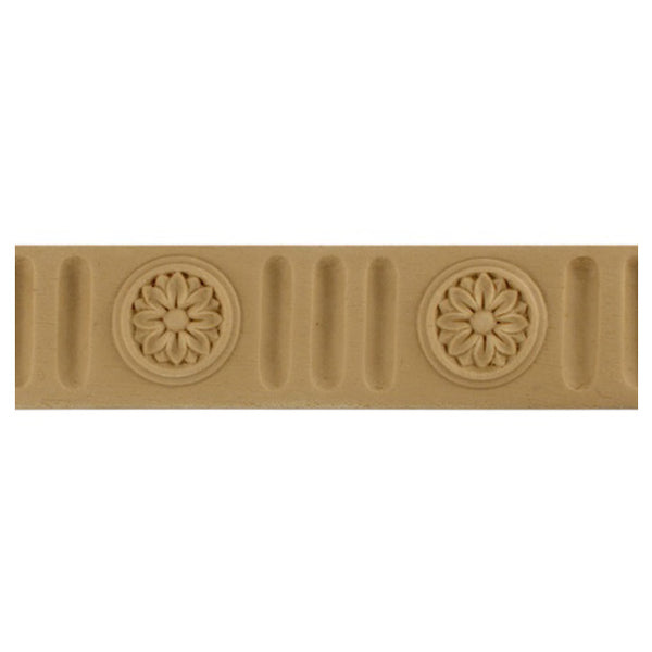 "1-1/4""(H) x 1/4""(Relief) - Flute w/ Rosette Linear Molding Design - [Compo Material]-Brockwell Incorporated"