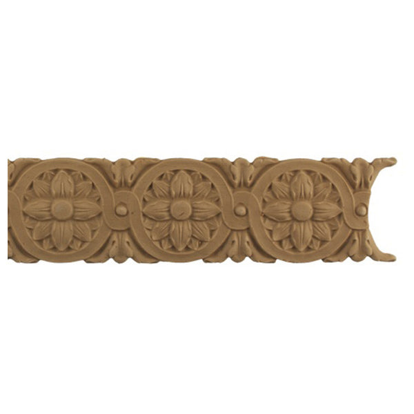 "2-1/4""(H) x 1/4""(Relief) - Louis XVI Rosette Linear Molding Design - [Compo Material]-Brockwell Incorporated"
