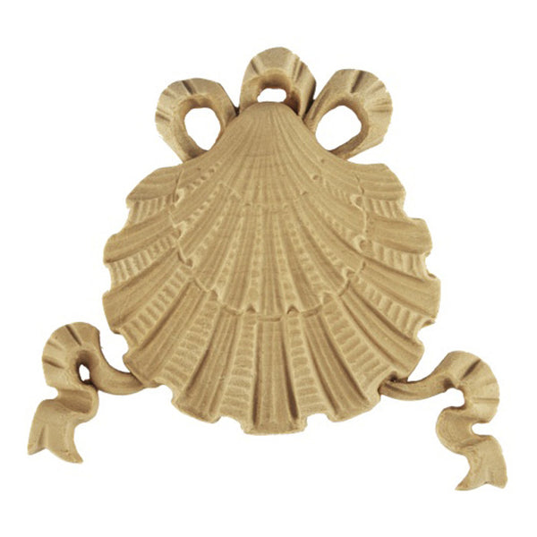 "Interior Compo Resin Ornate - 4-5/8""(W) x 4""(H) x 3/8""(Relief) - Colonial Shell Applique - [Compo Material]"
