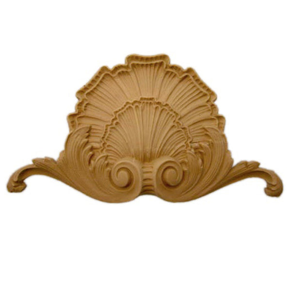 "Interior Compo Resin Ornate - 7-1/4""(W) x 4""(H) x 3/4""(Relief) - Colonial Shell Applique - [Compo Material]"