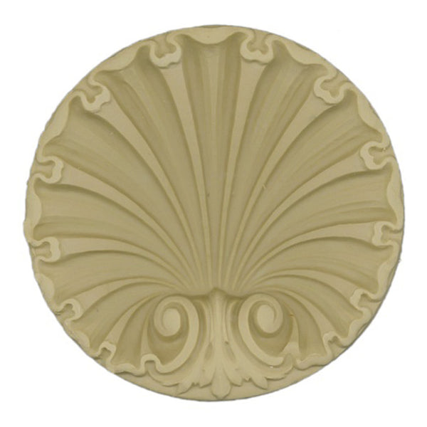 "Interior Compo Resin Ornate - 3-1/4""(W) x 3-1/4""(H) x 1/2""(Relief) - Colonial Shell Applique - [Compo Material]"