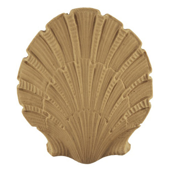 "Interior Compo Resin Ornate - 3-3/8""(W) x 3-3/4""(H) x 3/8""(Relief) - Colonial Shell Applique - [Compo Material]"