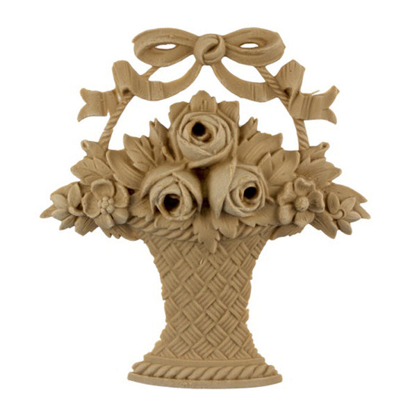 "5-3/4""(W) x 6-1/4""(H) - Rose Basket Accent - [Compo Material] - Brockwell Incorporated"