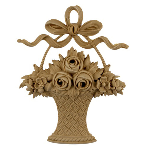"5-5/8""(W) x 7-1/2""(H) - Rose Basket Accent - [Compo Material] - Brockwell Incorporated"