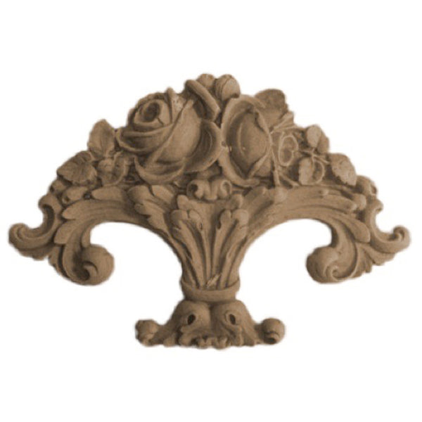 "6-1/2""(W) x 3-3/4""(H) - Floral Basket Accent - [Compo Material] - Brockwell Incorporated"