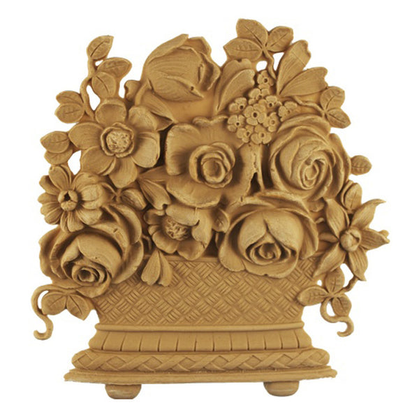 "7-1/2""(W) x 8""(H) x 7/16""(Relief) - Louis XVI Basket Accent - [Compo Material] - Brockwell Incorporated"