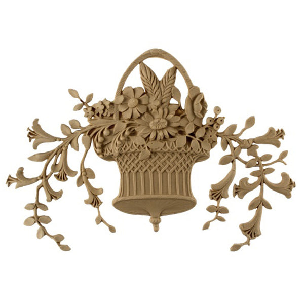 "10-5/8""(W) x 8""(H) x 5/16""(Relief) - Louis XVI Floral Basket Accent - [Compo Material] - Brockwell Incorporated"