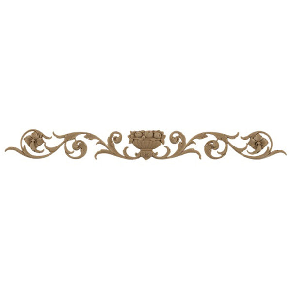 "26-1/4""(W) x 3""(H) x 1/4""(Relief) - Italian Basket w/ Leaves & Fruit Accent - [Compo Material] - Brockwell Incorporated"