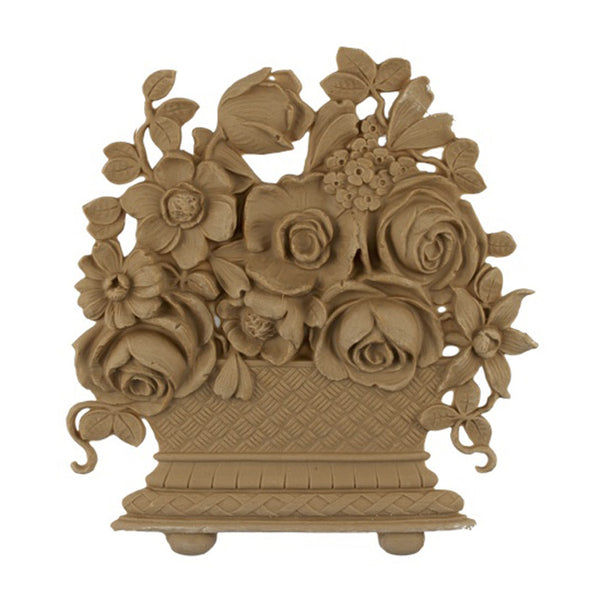"7-1/4""(W) x 8""(H) - Rose Ornate Basket Accent - [Compo Material] - Brockwell Incorporated"