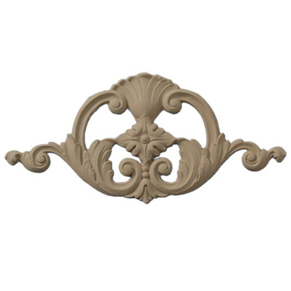 "8""(W) x 4""(H) - Cartouche w/ Diamond Rosette Accent - [Compo Material] - Brockwell Incorporated"