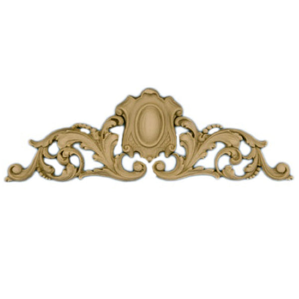 "9-1/2""(W) x 3""(H) - Leaf & Shield Cartouche Accent - [Compo Material] - Brockwell Incorporated"